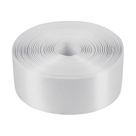 Лента атласная, белая, ширина 5см, длина 98м (арт. 1000578)