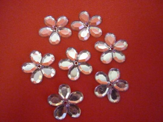 Цветы-стразы бледно-розовые 100шт