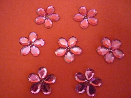 Цветы-стразы розовые 100шт