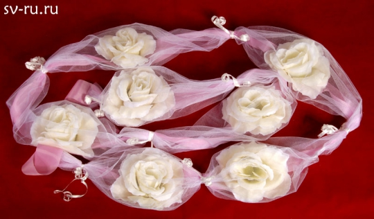 Цветы в фатине бежевые