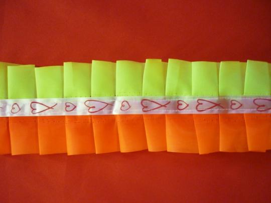Рюшь на а/м сборная п/э оранжево/ярко-салатовый