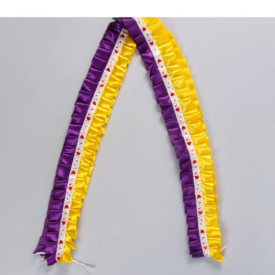 Рюшь на а/м сборная атлас жёлто-фиолетовый