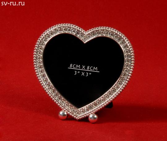 Фоторамка серебряная в виде сердца со стразами PF87563