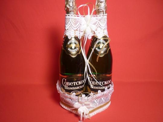Корзина для шампанского Сердце кружево белое