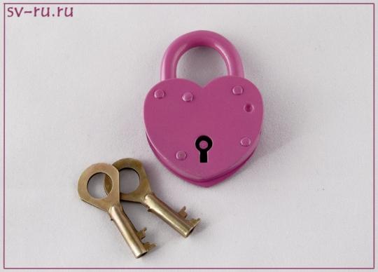 Замок ЗВС-3 Сердечко (розовый)