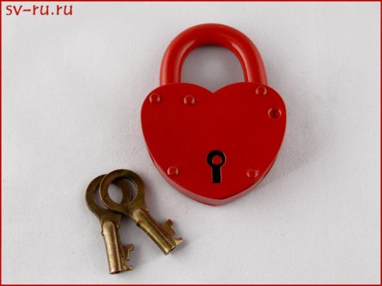 Замок ЗВС-3 Сердечко (красный)