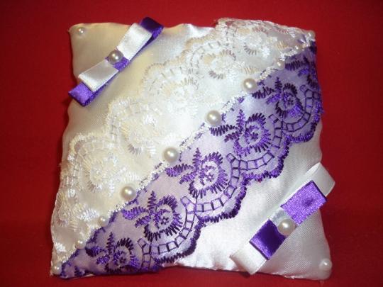 Подушечка Инь Янь бело-фиолетовая