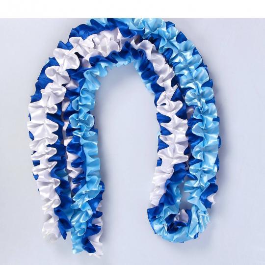 Рюшь на а/м объёмная атлас бело-голубая-синяя