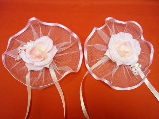 Цветы на зеркала и ручки а/м Нежность розовые(уп.2 шт)