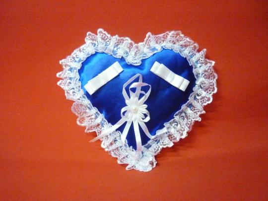 Подушечка для колец Сердце сине-белое