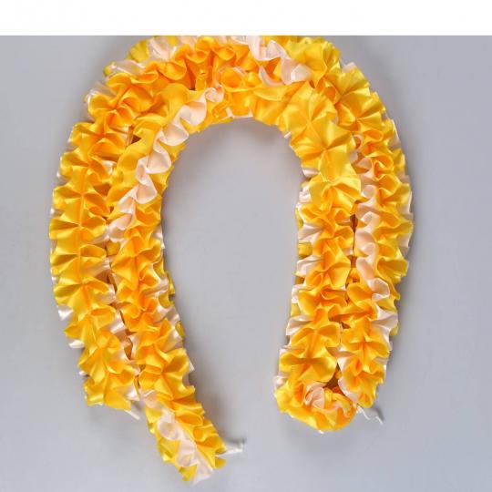 Рюшь на а/м объёмная атлас жёлто-белая