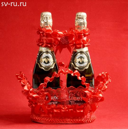 Корзина для шампанского красная