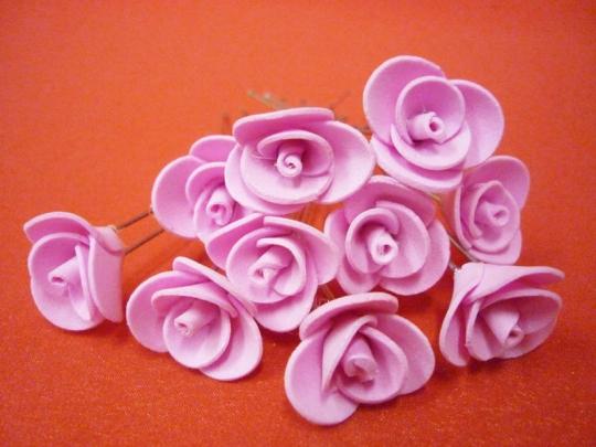 Цв. на шпильке роза 2см (уп.10шт) (розовая)