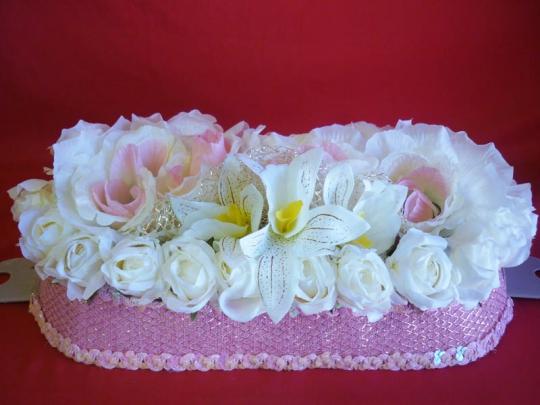 Букет на а/м малый Розы бел-роз