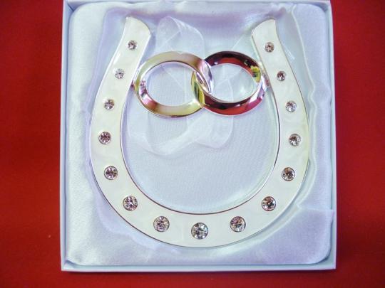 Подкова серебрянная с обруч кольц со стразами HG-01600