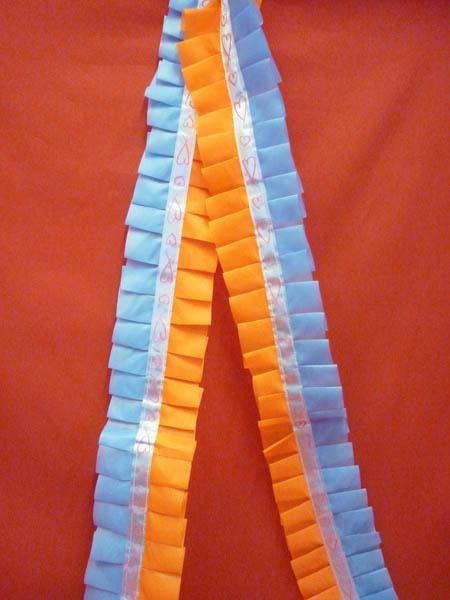 Рюшь на а/м сборная п/э голубой-оранжевый