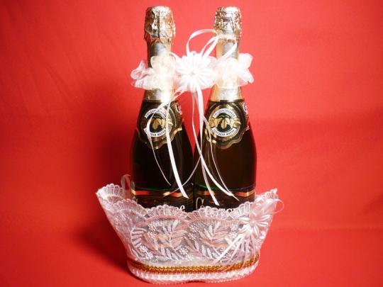 Корзина для шампанского Ладья кружево белая