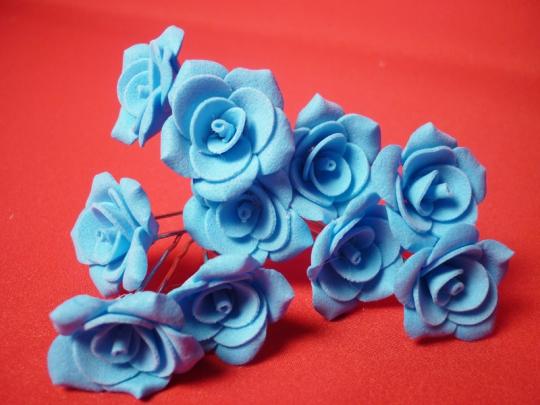 Цв. на шпильке роза №2 (уп.10шт) (голуб)