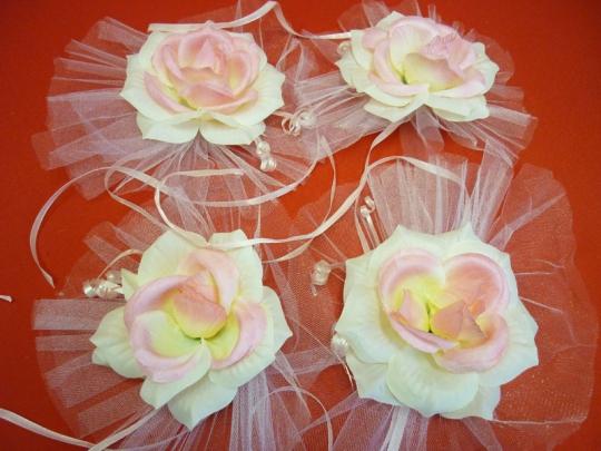 Цветы на зеркала и ручки а/м чайн.роза (уп.4 шт)