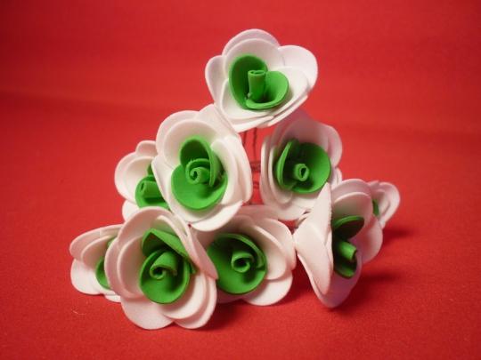 Цв. на шпильке роза (уп.10шт) (бел-зел)