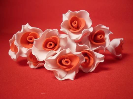 Цв. на шпильке лилия (уп.10шт) (бел-коралл)