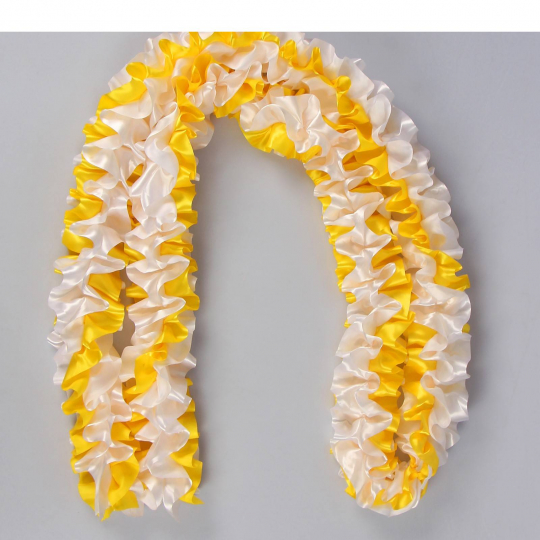 Рюшь на а/м объёмная атлас бело-жёлтая