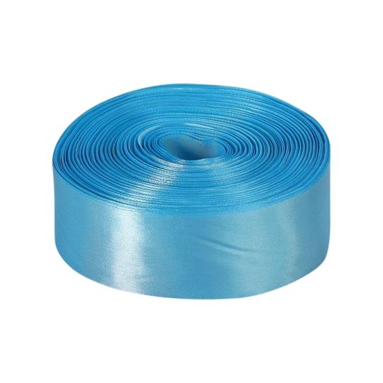Лента атласная, голубая, ширина 5см, длина 98м (арт. 12835)