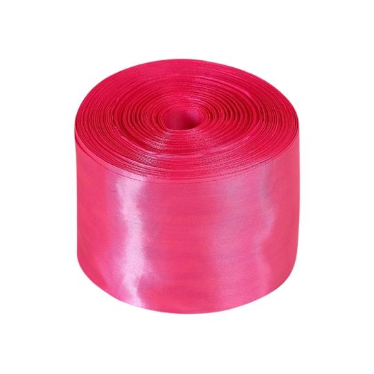 Лента атлас 10см/100м ярко-розовая