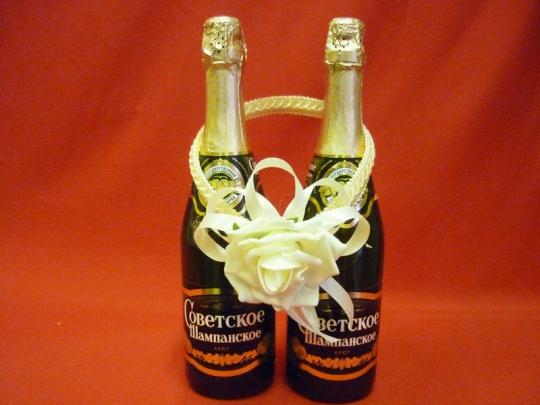 Украшение на шампанское Роза айвори