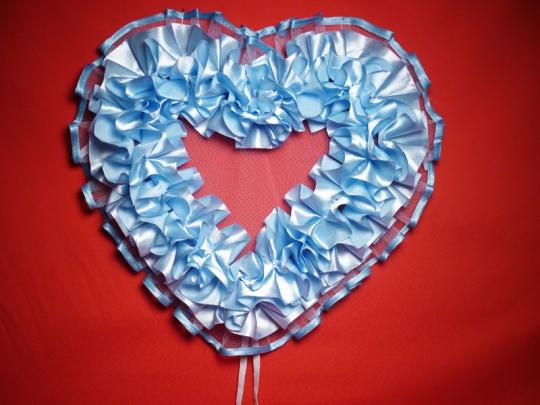 Сердце №10 атлас голубое