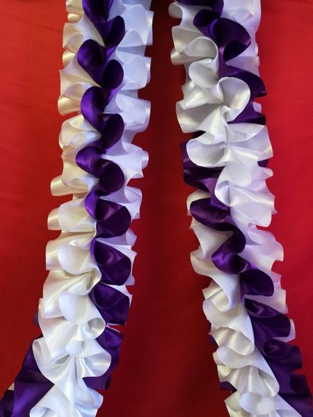Рюшь на а/м объёмная атлас бело-фиолетовая