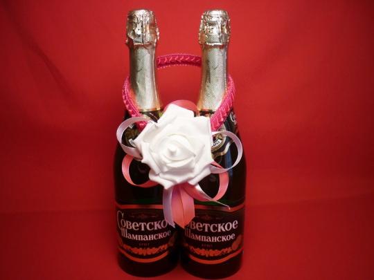 Украшение на шампанское Роза розовое