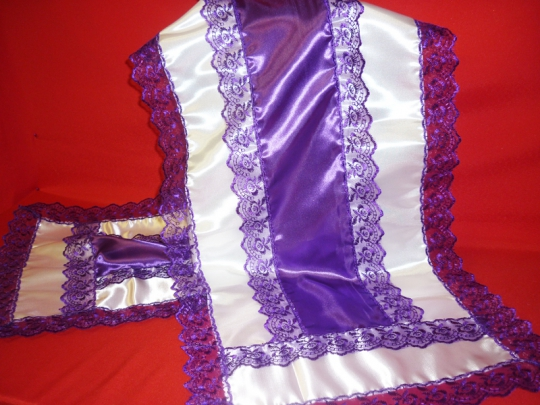 Рушник атлас фиолетовый