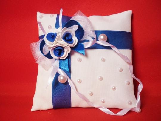 Подушечка для колец №2 бел-синяя
