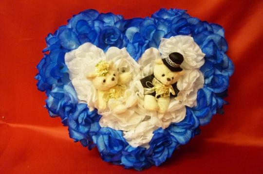 Сердце с мишками сине-белое