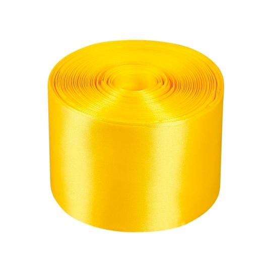 Лента атлас 10см/98м жёлтая