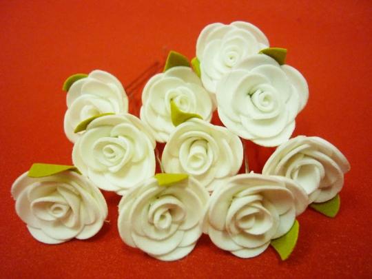 Цв. на шпильке роза (уп.10шт) (с листочком белая)