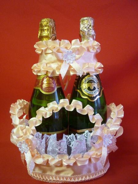 Корзина для шампанского персик