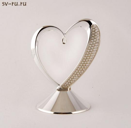 Сердце с искусственным жемчугом на подставке SA-133001