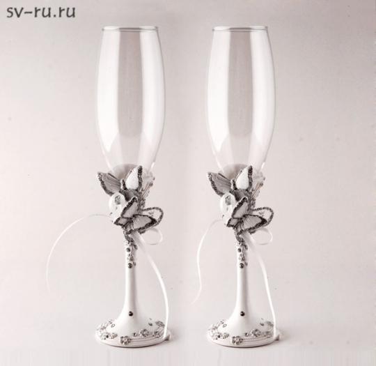 Св. бокалы Две бабочки, полистоун GL-276000