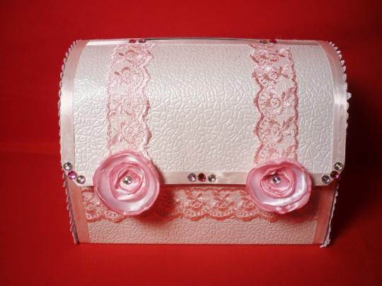 Сундук Анта №4 бело-розовый разборный