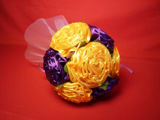 Букет для невесты Роза атлас №2 жёлто-фиолет