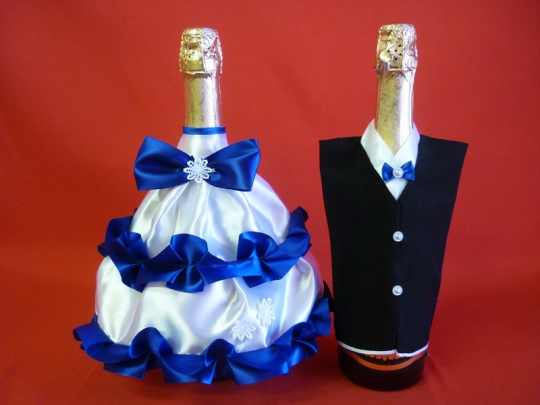 Костюм на шампанское №2 бело-синий (уп 5 шт)