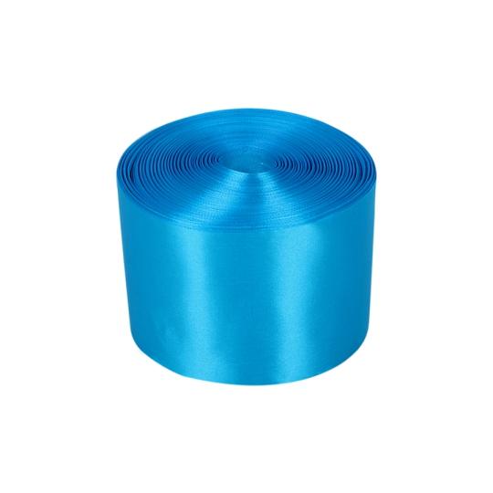 Лента атлас 10см/100м ярко-голубая