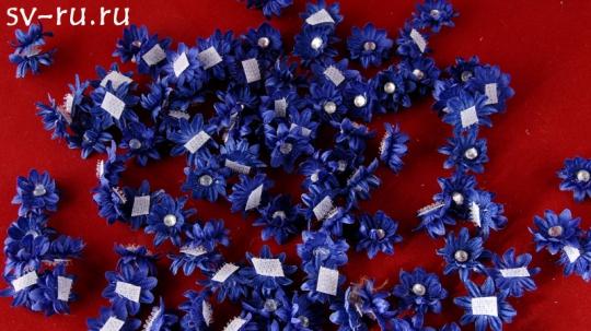 Цветы-липучки син (упак.100шт.)