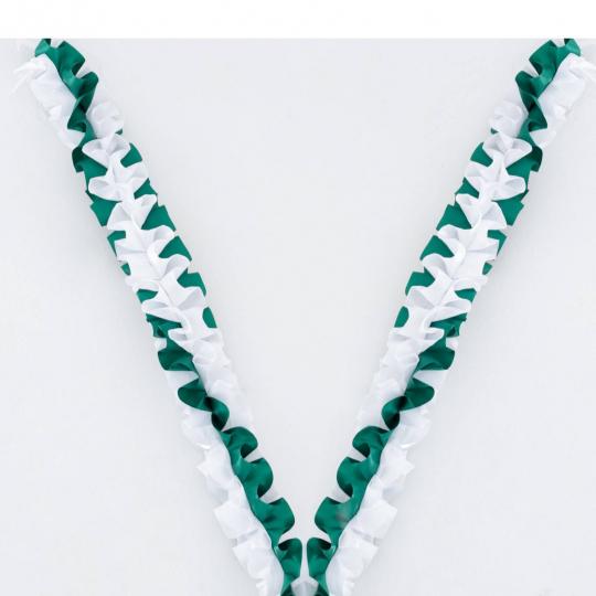 Рюшь на а/м объёмная атлас бело-зелёная