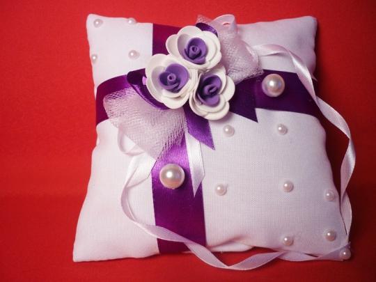 Подушечка для колец №2 бел-фиолет