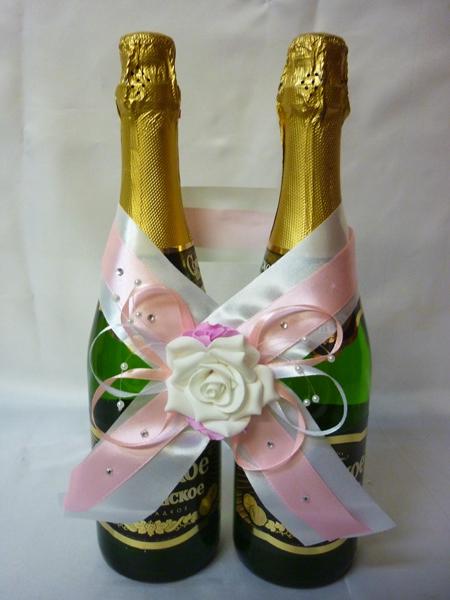 Украшение на шампанское №1 розово-белое