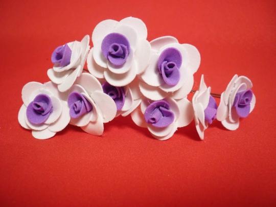 Цв. на шпильке роза (уп.10шт) (бел-фиолет)