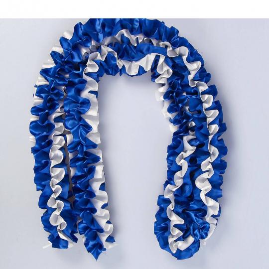 Рюшь на а/м объёмная атлас сине-айвори